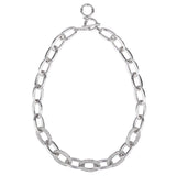 Oval Links Pavé Crystal Rhinestones Silver Tone Toggle Statement Necklace