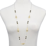 Hollow Teardrop & Black Crystal Beads Long Strand Necklace 36""