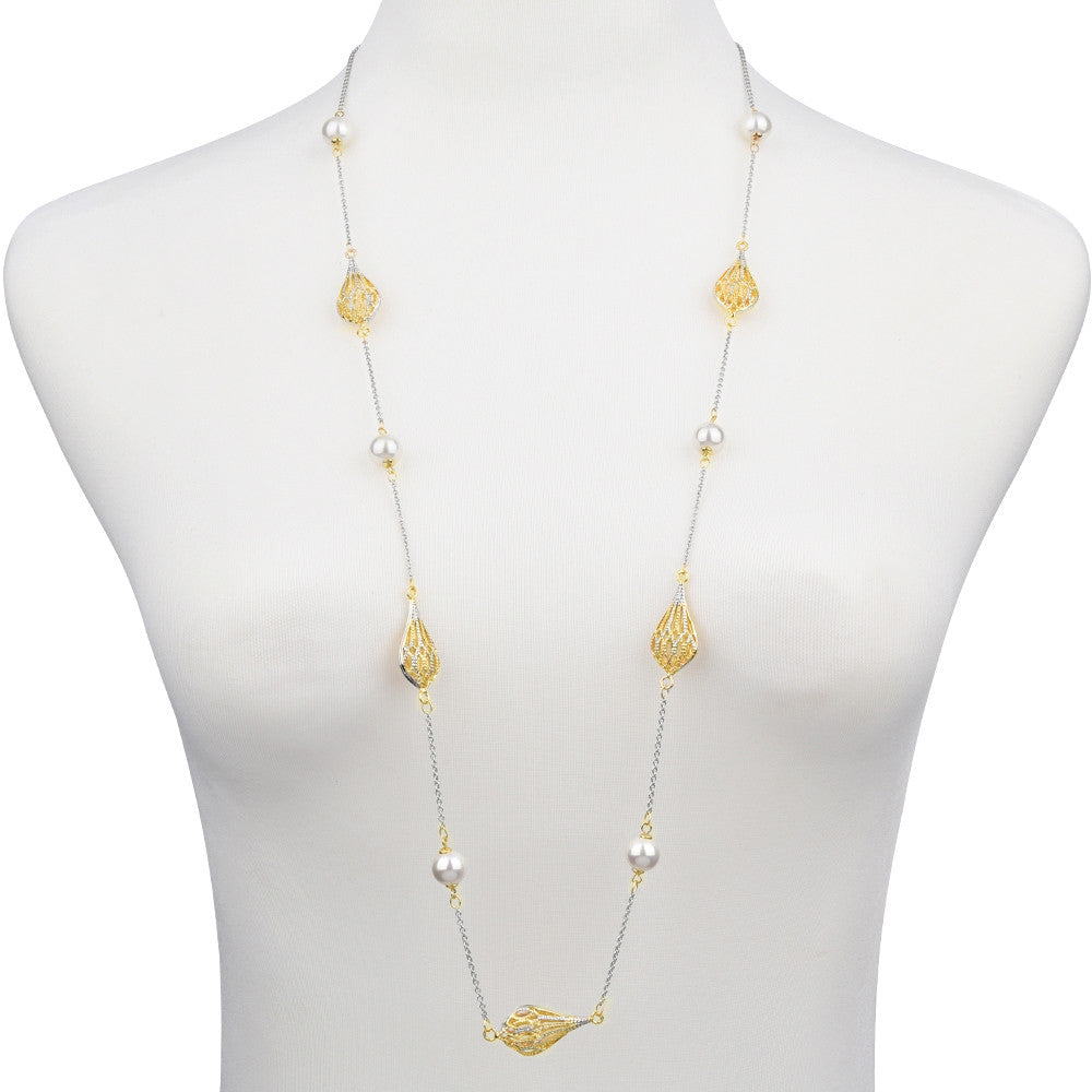 Hollow Teardrop & Faux Pearls Long Strand Necklace 36""