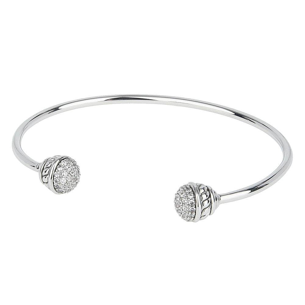 Micro Pavé Cubic Zirconia Open Cuff Bangle
