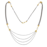 Faux Pearls Two Tone Multi Chain Long Necklace 36""