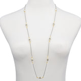 Imitation Pearls Two Tone Long Strand Necklace 36""