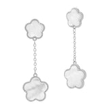 Opaque Stone Flower Dangling Earrings
