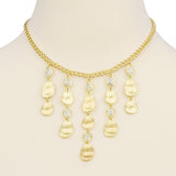 Gold Tone Brushed Nuggets Bib Statement Necklace