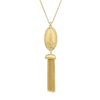 Matte Brushed Gold Tone Oval Crystal Rhinestones Tassel Pendant Necklace