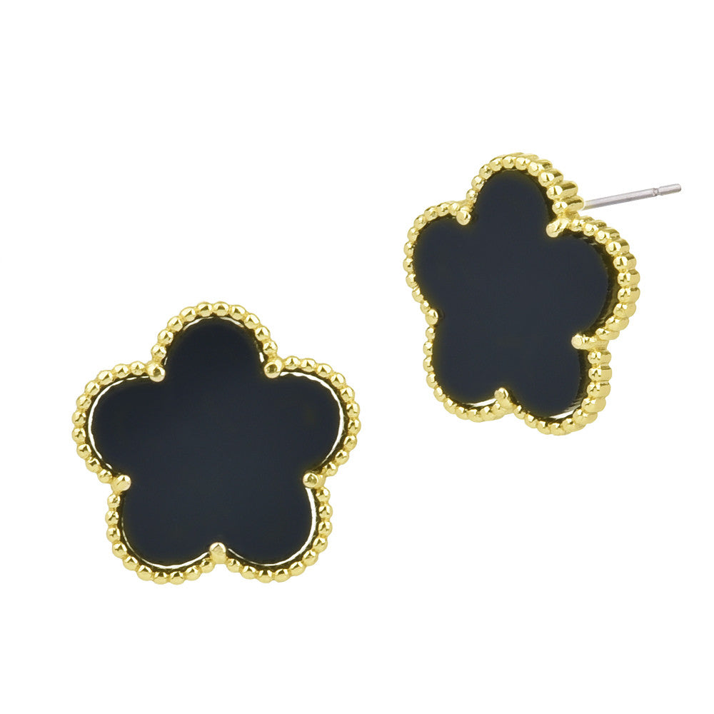 Onyx Flower Stud Earrings