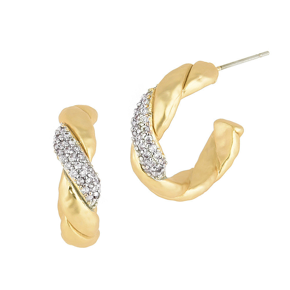 Twisted Matte Gold Tone with Pave CZ Half Hoop Earrings