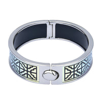 Metallic Quatrefoil Pattern Hinged Printed Bangle