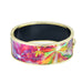 Purplish Orange Tie Dye Flower Printed Hinged Bangle