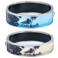 Palm Tree & Hut Silhouette Printed Bangle (Two-Sided)