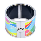 Colorful Wavy Abstract Design Printed Hinged Bangle