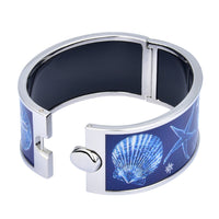 Blue Base with Glowing Sealife Designs Printed Hinged Bangle