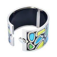 Blue, Green & Yellow Irregular Shaped HD Printed Hinged Bangle