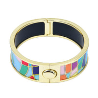 Colorful Tiles Gold Tone Bordered Printed Hinged Bangle