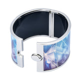 Blue Geometric Angled Triangle Glass Pattern Printed Bangle