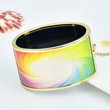 Color Spectrum Whirl Milky Way Printed Hinged Bangle