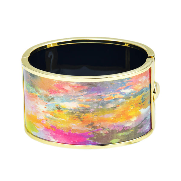 Color Patches Art Painting Design Printed Hinged Bangle