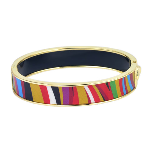 Colorful Zebra Pattern HD Printed Hinged Bangle