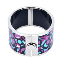 Purple & Blue Art Noveau Abstract Design HD Printed Hinged Bangle