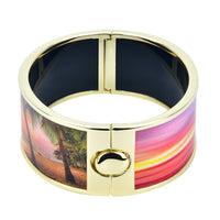 Beach Side Palm Tree & Sunset Reversible Printed Hinged Bangle