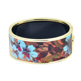 Japanese Flower Art Design HD Printed Hinged Bangle