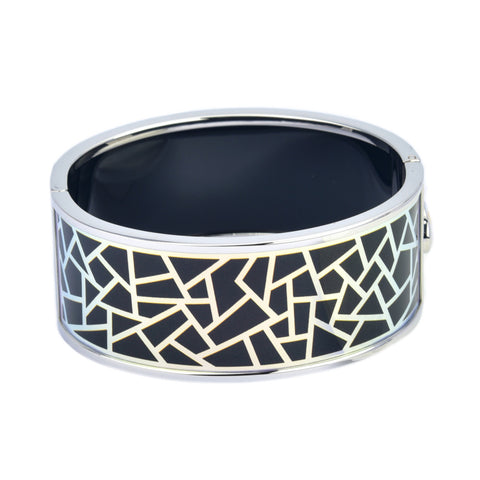 Dark Blue Metallic Geometric Pattern Printed Hinged Bangle