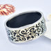 Dark Blue Metallic Filigree Swirls Printed Hinged Bangle