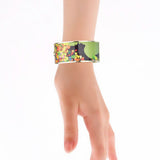 Lady Silhouette with Autumn Leaves Printed Hinged Bangle