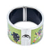 Girl Silhouette with Floral Dress on Bike Printed Hinged Bangle