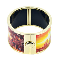 Sunset by The Beach with Palm Tree Scenery Printed Hinged Bangle