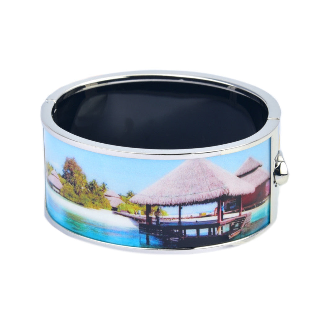 Maldives Scenery White Hut Printed Hinged Bangle