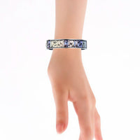 Metallic Dark Blue Effect Baroque Patterns Printed Hinged Bangle