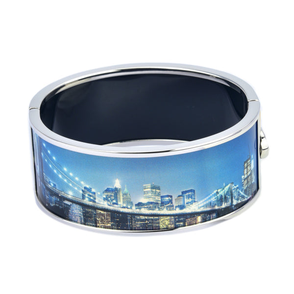 City Skylights Bridge Scenery Printed Hinged Bangle