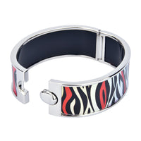Black & Red Zebra Stripes Printed Hinged Bangle