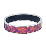 Fuchsia Basket Weave Pattern Printed Hinged Bangle