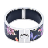 Purple Orchid Flowers Printed Hinged Bangle