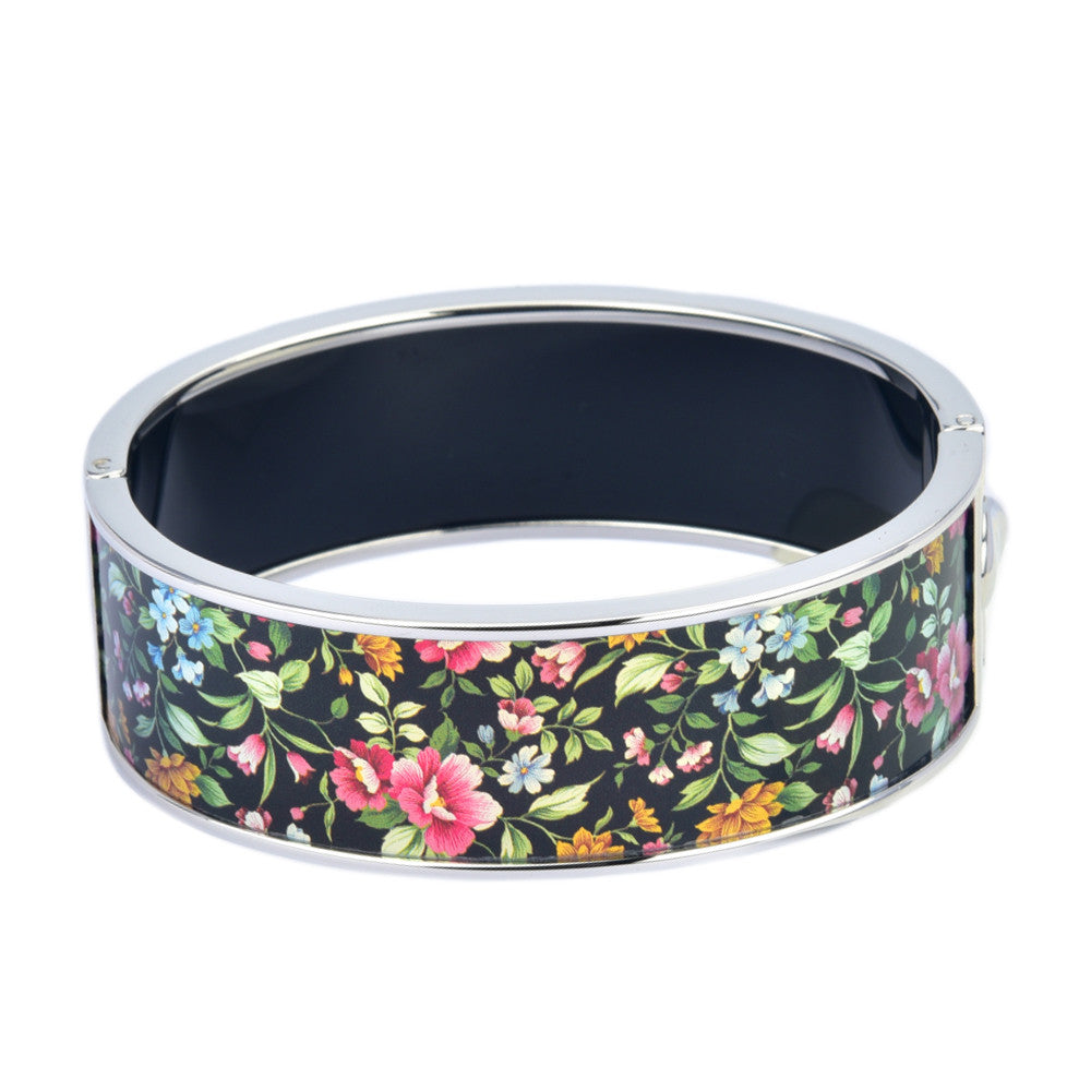 Floral & Leaves Black Background Design Printed Hinged Bangle