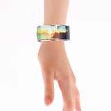 Sunset By The Beach Scenery Printed Hinged Bangle