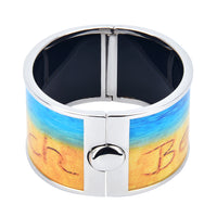 """Beach"" on Sand Art Printed Hinged Bangle"