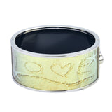 """LOVE"" on Sand by the Beach Printed Hinged Bangle"