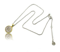Initial & Clear CZ Two Tone Necklace