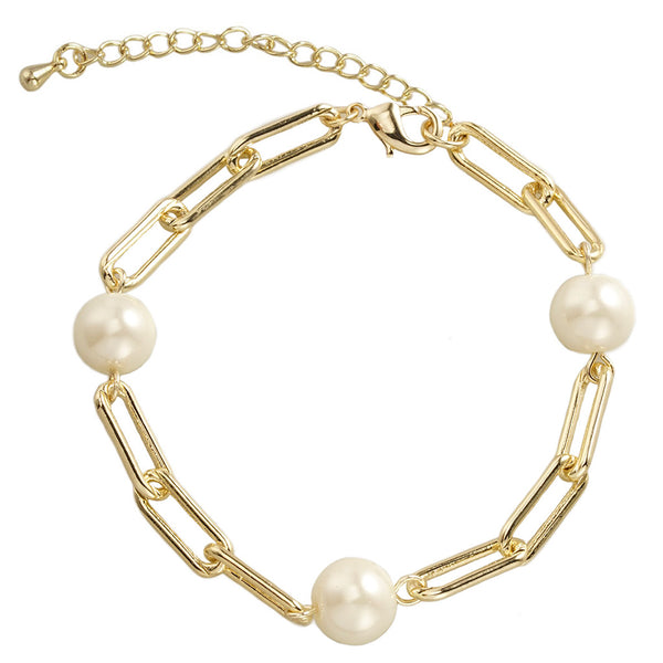 GOLD PAPER CLIP BRACELET WITH PEARLS