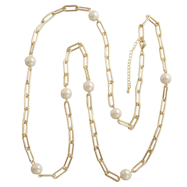 Gold Paper Clip Pearl Chain Necklace 36""