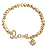 LOVE WITH CHARM STRETCHY GOLD BEAD BRACELET