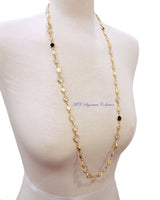"Textured Pebbles with CZ Long Strand 36"" Necklace"