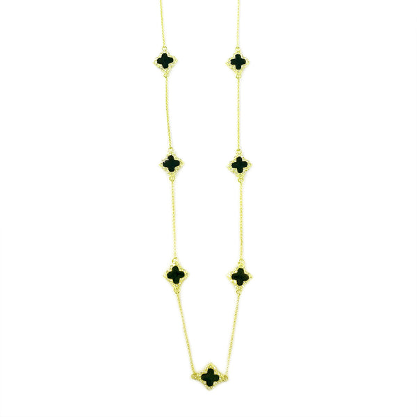 "Enamel Clover with Rhinestone Gold Tone Long Strand 36"" Necklace"