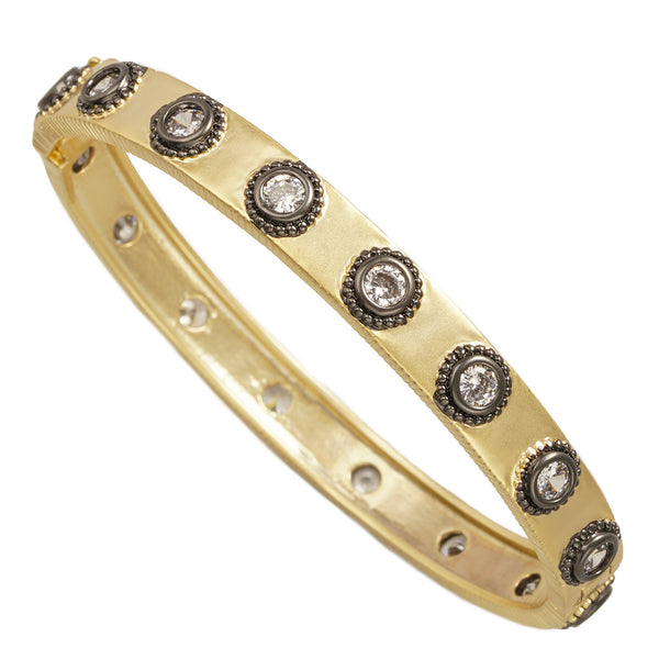 HJ Collection - Matte Gold and Black Brass Hinge Bangle