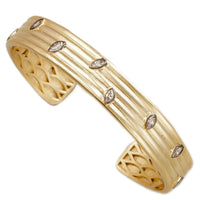 HJ Collection - Matte Gold and Black Brass Cuff