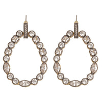 HJ Collection - Matte Gold And Hematite With CZ Pear Earrings