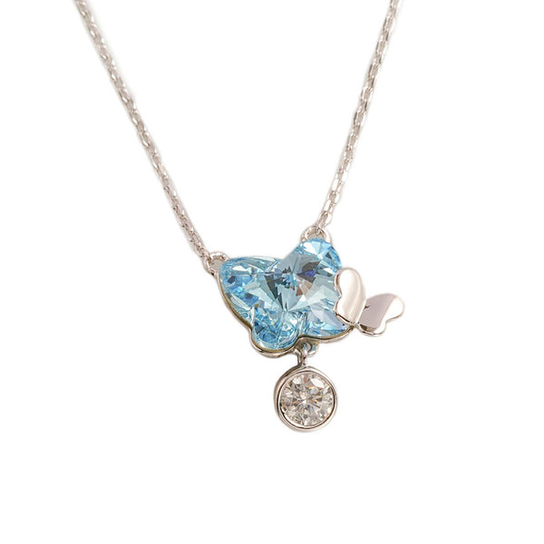 925 Sterling Silver- Necklace Butterfly Aqua